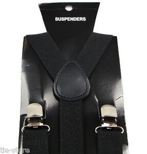 MENS-BLACK-SUSPENDERS-BRACES-BELT-ELASTIC-ADJUSTABLE-WEDDING-MEN-039-S-85cms-WOMENS