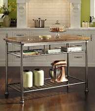 Butcher Block Island Small Kitchen Islands And Work Station Prep Table Black For Sale Online Ebay