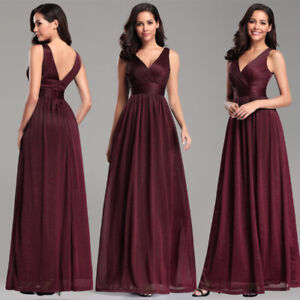 Ever-Pretty-Glitter-V-Neck-Long-Evening-Party-Dress-A-Line-Bridesmaid-Prom-Gowns