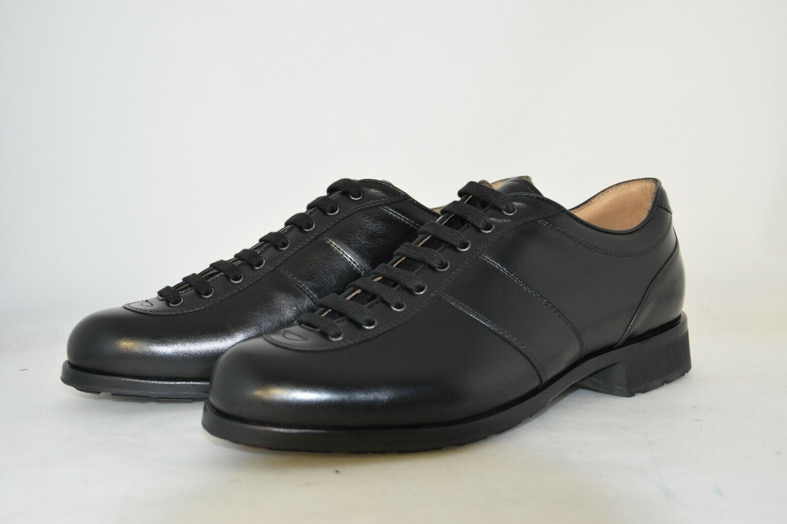 MAN-6eu-7us-CASUAL scarpe da ginnastica-nero CALF-VITELLO NERO RUBBER SOLE - SUOLA GOMMA