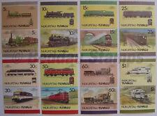 1987 NUKUFETAU Set #3 Train Locomotive Railway Stamps (Leaders of the World)