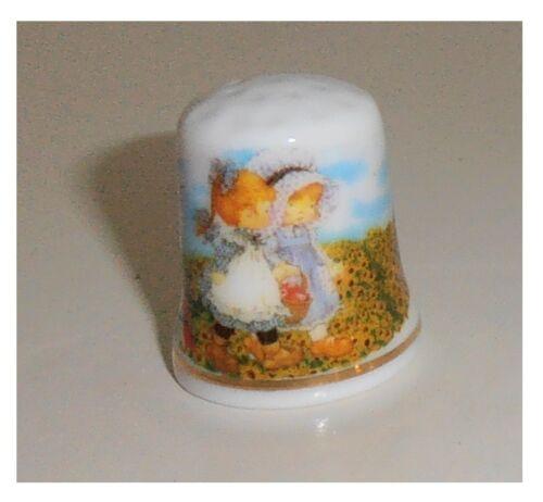 bambini due bimbe prato fiorito Ditale in ceramica ditali di porcellana