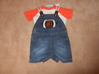 New, Baby Boys 2 Piece Football Overalls Outfit, The Childrens Place, Size 3-6 M