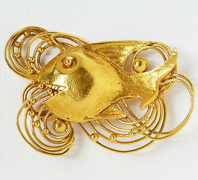 WohltäTig Hans Schröder Brosche 18 Karat 750 Gold 27,96 G Fisch Unikat Goldschmiedearbeit
