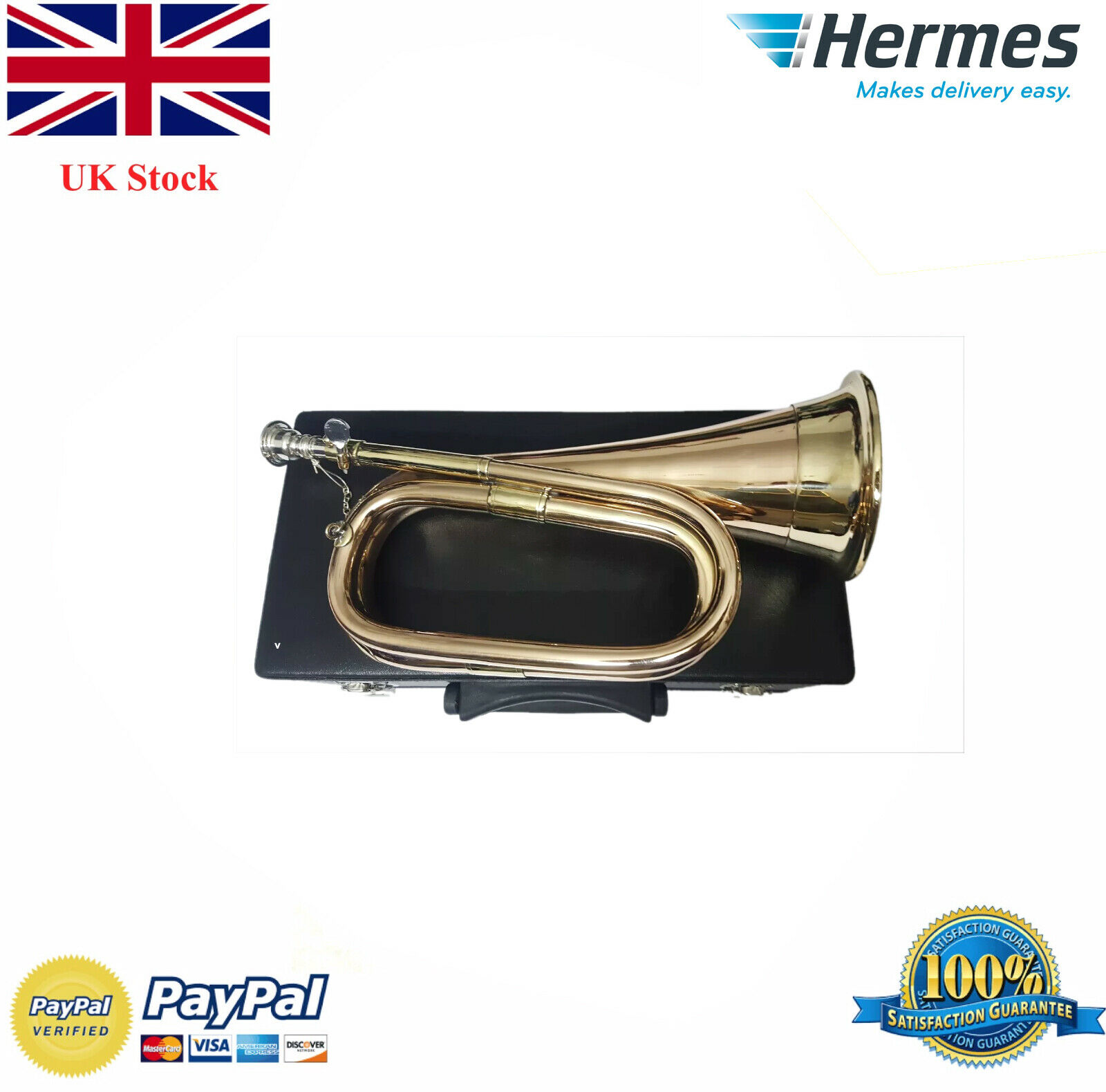 New British Army Style Bb Bugle Tuneable Brass with Silber mouth piece FREE CASE