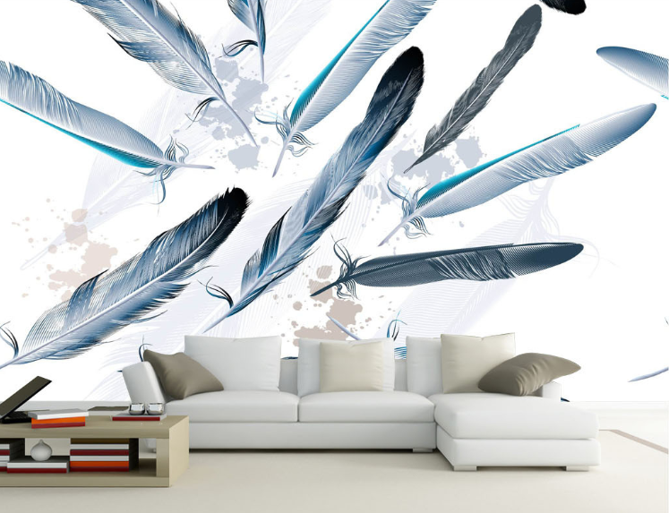 3D Painted Bule Plumage Paper Wall Print Wall Decal Wall Deco Indoor Murals