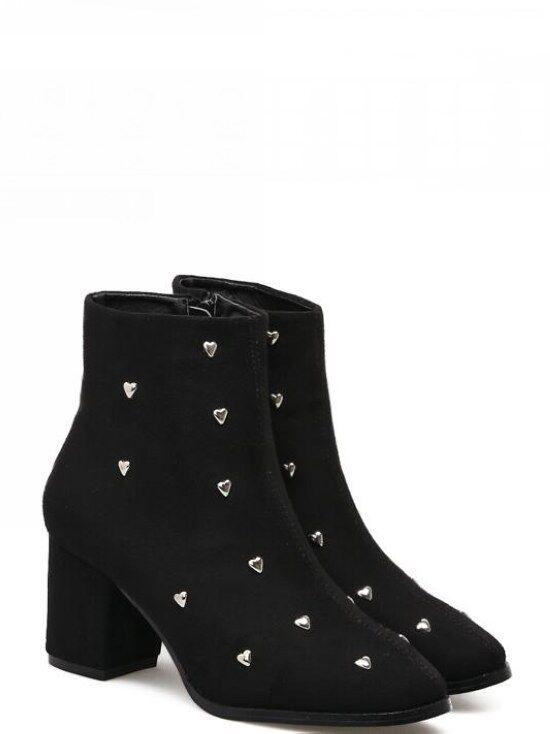 Bottes Basses Chaussures Haut 7 cm Noir Clous Cuir Synthetique 9467