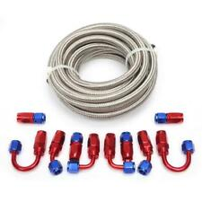 20ft Braided Fuel Hose Line Swivel Hose End Fitting Kit 4an Red And Blue Connect