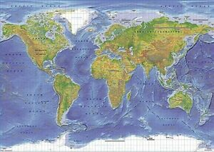 WORLD MAP EDUCATIONAL POLITICAL TERRAIN POSTER (61x91cm)  PICTURE PRINT NEW ART