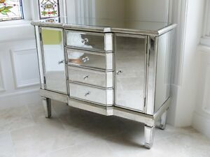 Image Is Loading Antique Mirrored Sideboard With 4 Drawers And 2
