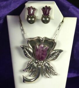 1940s-MEXICO-SET-52-2g-STERLING-amp-AMETHYST-TULIPS-Pendant-Pin-Necklace-Earrings