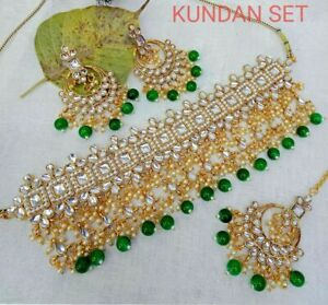 Indian Bollywood Designer Traditional Green Pearl Choker Necklace