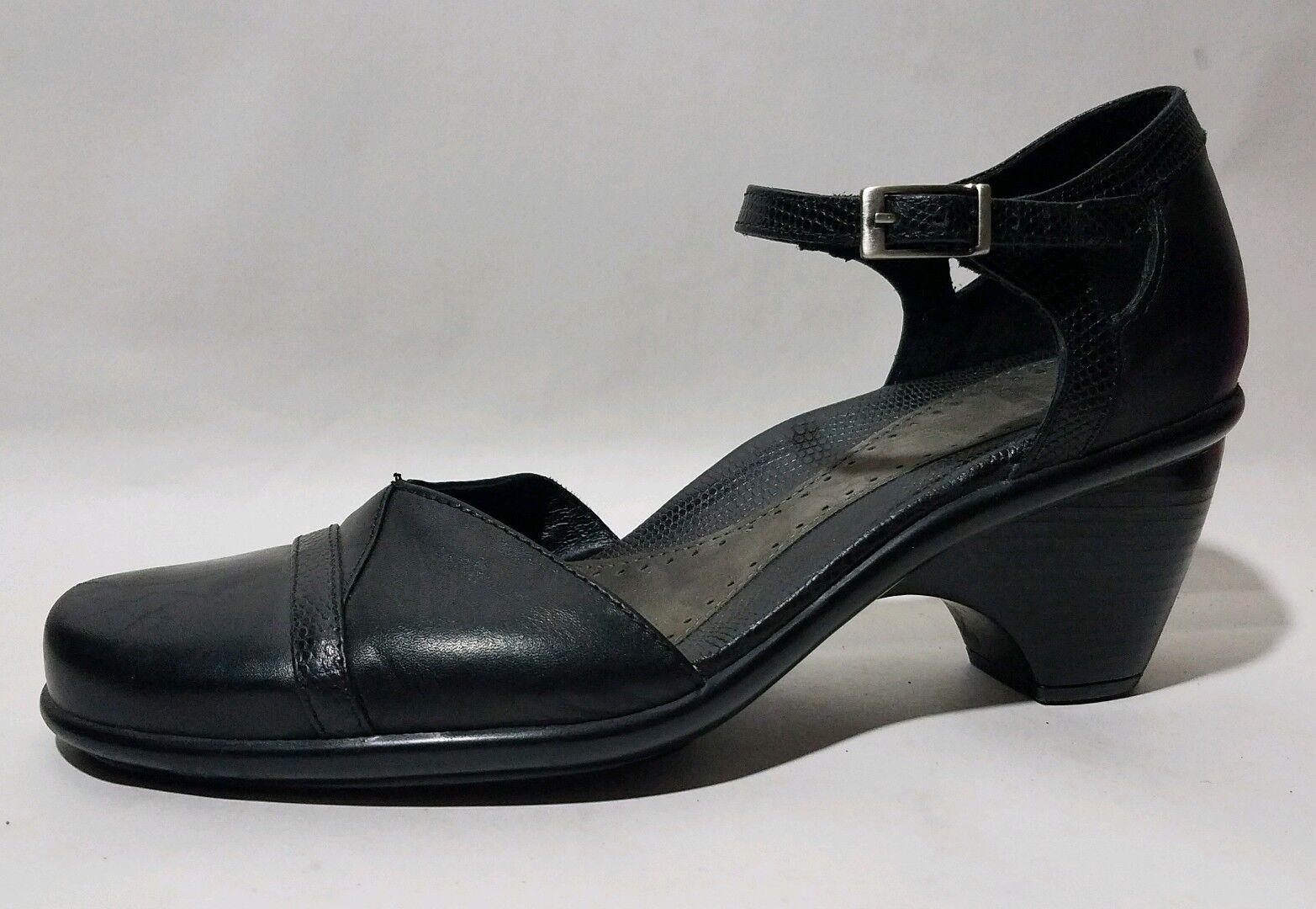 DANSKO ROXY Womens 7.5 - 8 Med Black Calf Leather Ankle Strap Shoes Heels