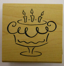 Birthday Cake with Candles Rubber Stamp by DeNami Design