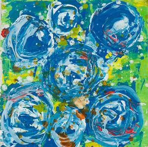 Original Blue Roses Floral Mini Painting Impasto Knife Art Katie Jeanne Wood