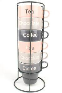 Tea Coffee Or Chocolate Cup Set Stackable Coffee Mug Tower 6