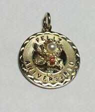 "Vintage NOS 1960's 12K Gold Filled Elco ""Feliz Aniversario"" Flower Medal Pendant"