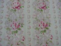 Yuwa Raining Pink Roses on Cream Dobby Textured Cotton 1 Yd.