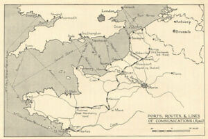 Map Of France 1940.Fall Of France 1940 Ports Routes Rail Communications Ww2 1953