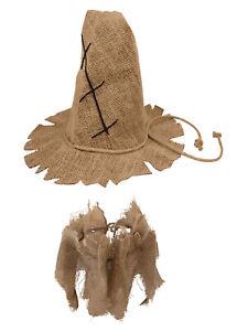Adult Burlap Scarecrow Hat And Collar Set Unisex Halloween Costume Accessory
