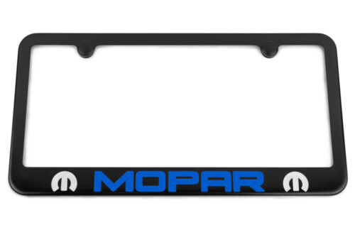 MOPAR Satin Black License Plate Frame Blue B5 USA Made Silver Engraved Logo