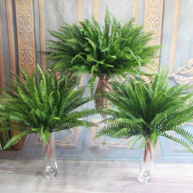 Green Fake Plants Artificial Persian Leaves Leaf Grass Flower Garden Decoration