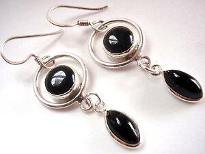 Genuine-Black-Onyx-Marquise-Hoop-925-Sterling-Silver-Dangle-Earrings-New