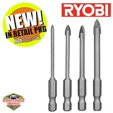 Ryobi AR1650G 4 Piece Hex Shank Glass and Tile Bit Set Green New