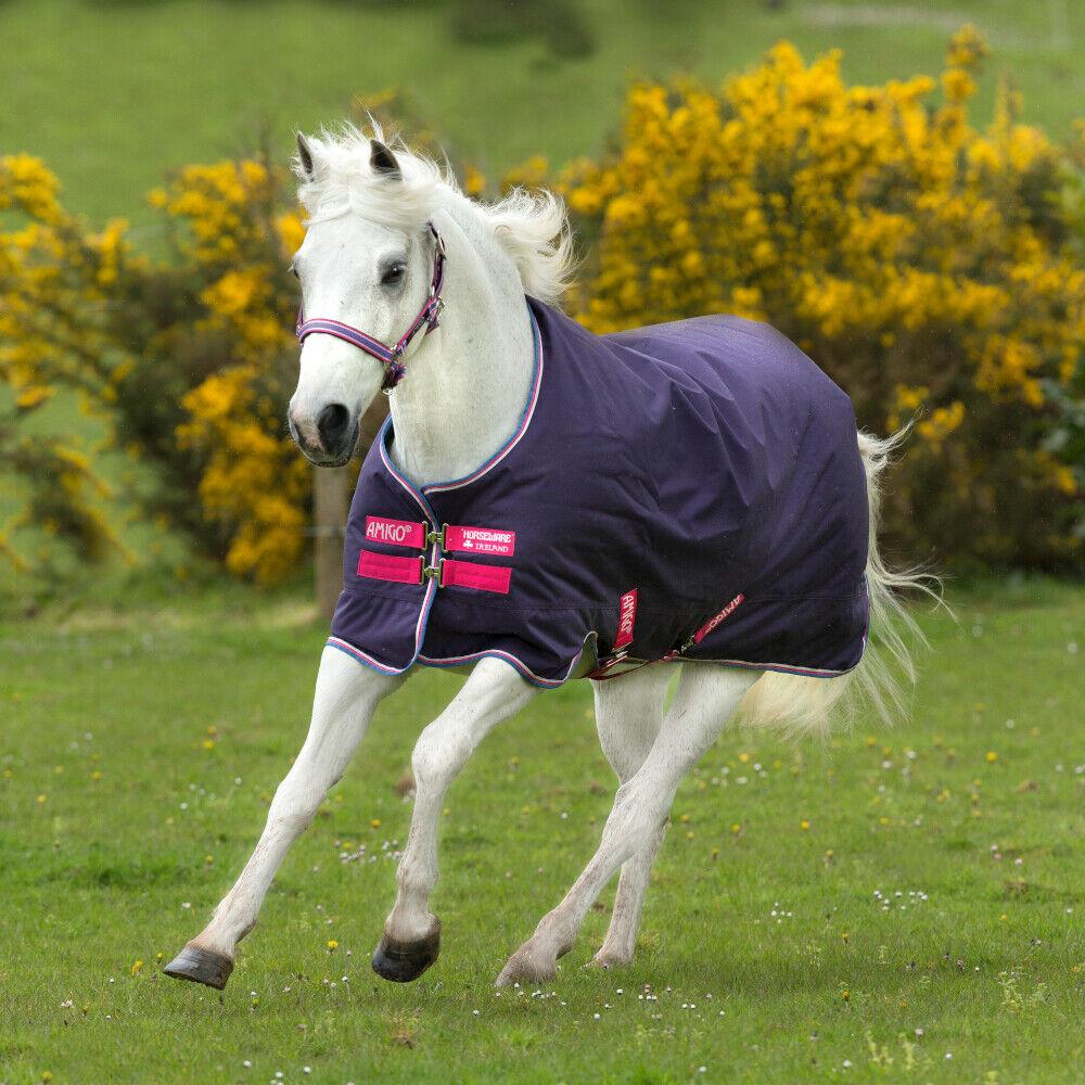 Horseware Amigo Hero 900 Pony Turnout Lite 0g-Grape rose, blanc & Powder bleu
