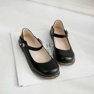 Womens-Girls-Round-toe-Mary-Janes-Ankle-Strap-Flat-Leisure-Preppy-Casual-Shoes