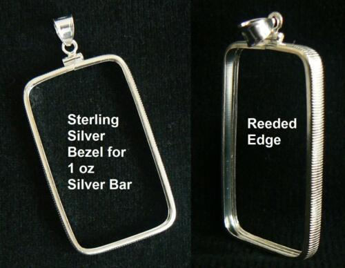 .925 STERLING SILVER BEZEL FITS ONLY 1 oz PRIDE SILVER BAR 29 x 50 mm NO RETURNS