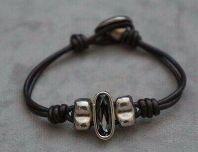 "NEW Uno De 50 Silver Blue Swarovski Elements Crystal Leather Wrap Bracelet 6.5/"""
