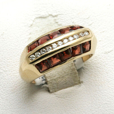Vintage Garnet & Diamond Ring Domed Band Estate 14k yellow gold
