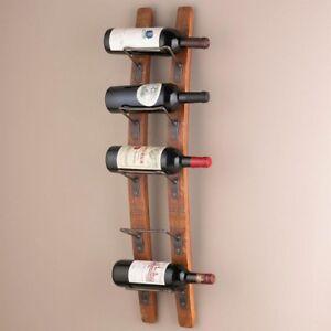 Details about New Wine Enthusiast Barrel Stave Bar Wood 5-Bottle Kitchen  Wall Wine Rack Holder