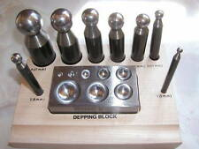 doming/dapping punches set  with flat steel block on wood base
