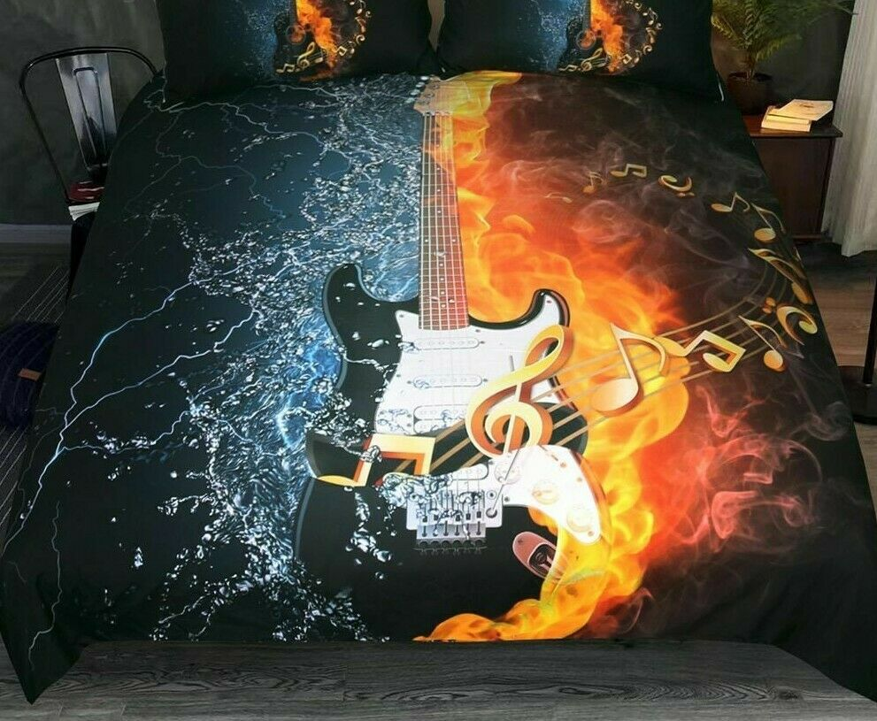 Bedclothes Set Microfiber Fabric Bass Guitar Duvet Cover Fire And Water Bed Case