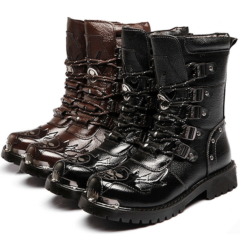 Fashion Punk Rock Buckle Leather Motorcycle Boots shoes Black Shoes R922