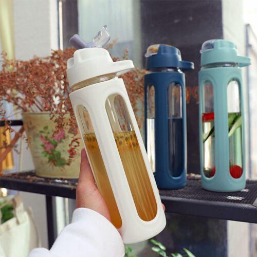 600ml Glass Leak Proof Water Bottle With Straw Large Capacity Sports Handle SM