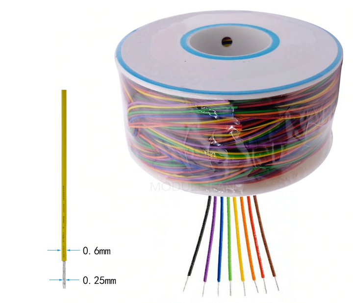 Colored Insulation Cable Copper Core 8 Wrapping Wire 250M 30AWG 0.25mm