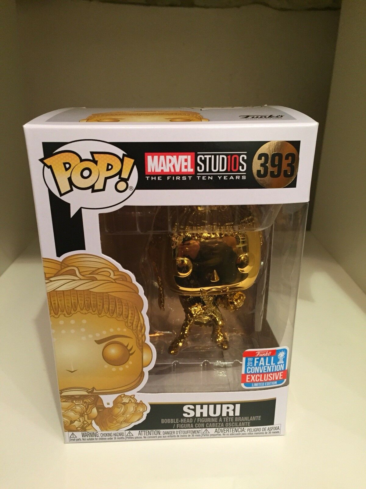 SHURI GOLD CHROME NYCC 2018 LTD EDT FALL EXCLUSIVE FUNKO POP MARVEL STUDIOS 10YR