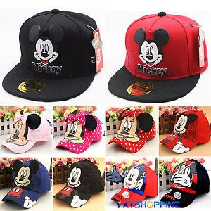 Children Kids Boys Girls Cartoon Minnie Micky Mouse Snapback Hat Baseball Cap