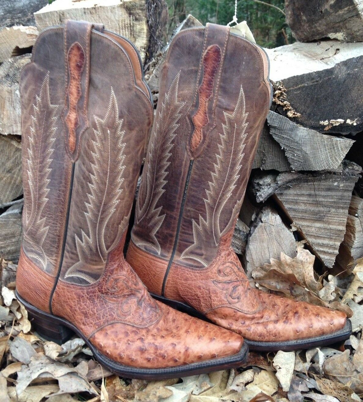BLACK JACK Boots Size 6 Women's Full Quill Ostrich Made in USA Western Cowboy