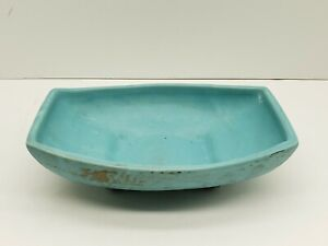 Vintage McCoy USA Pottery Turquoise And Gold Trinket Tray Planter Dish