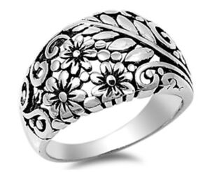 Sterling-Silver-925-PLUMERIA-FLOWER-WITH-FLORALS-DESIGN-BAND-RING-13MM-SIZE-5-12