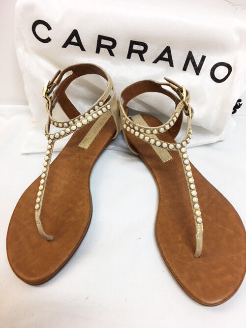 New Carrano Women's Jennie Leather gold And Pearl Flat Ankle SANDALS shoes