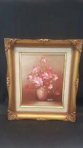 Original-Still-Life-Floral-Oil-Painting-Vase-of-Flowers-Signed-M-Gates