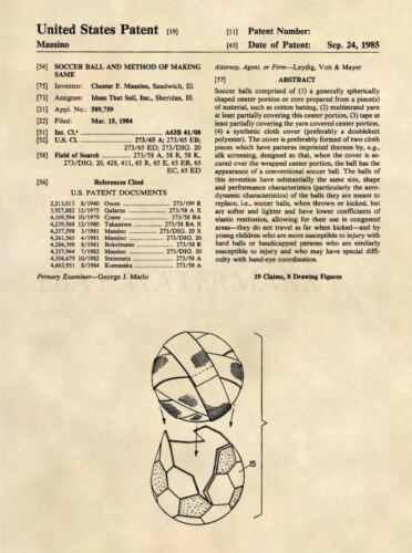 498 Official Soccer Ball US Patent Art Print Soccer Poster Art Patent Prints