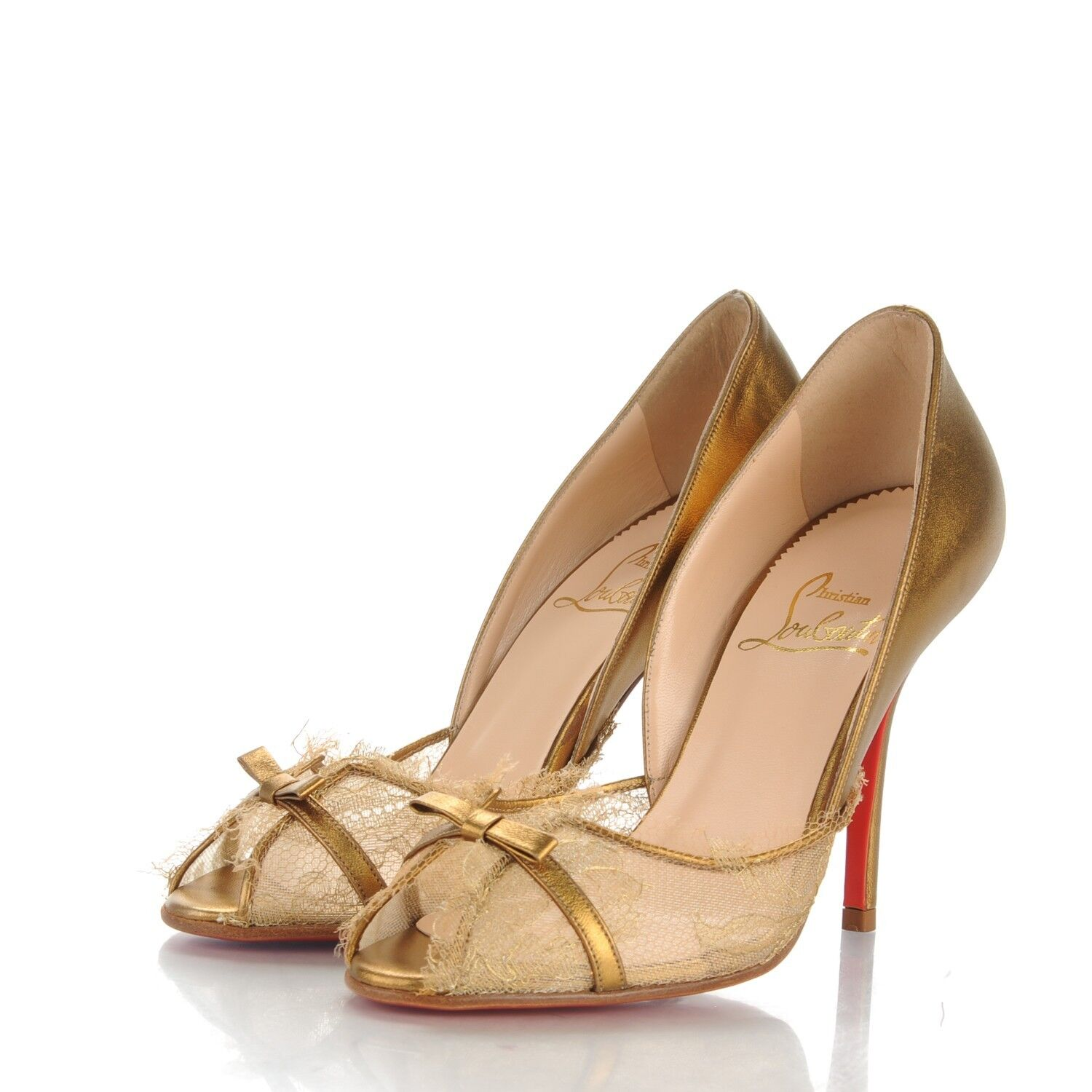 825 NEW Christian Louboutin ALEXANDRA Lace gold Leather Bow Peep Toe shoes 40.5
