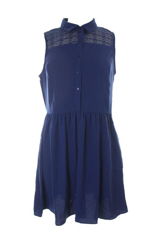 Angemessen Maison Jules Blau Ärmellos Lace-trim Shirt-kleid L Klar Und Unverwechselbar