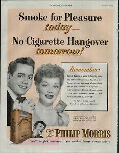 1952-Philip-Morris-Cigarettes-Lucy-Lucille-Ball-Desi-Arnez-Vintage-Print-Ad-1825